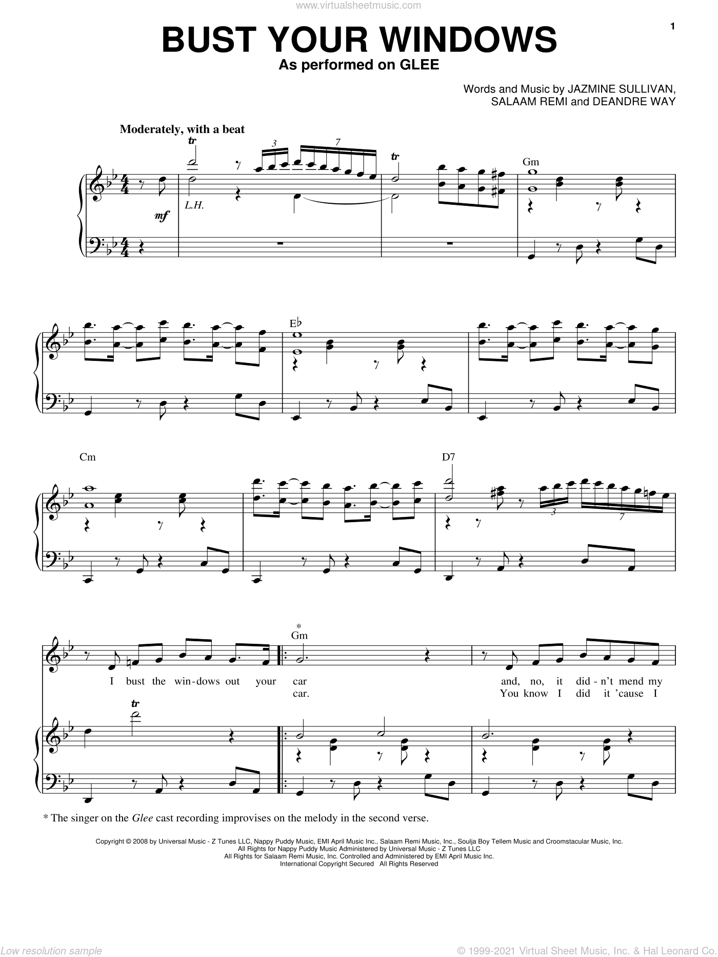 Bust Your Windows sheet music for voice and piano by Glee Cast, Miscellaneous, Jazmine Sullivan and Salaam Remi, intermediate. Score Image Preview.