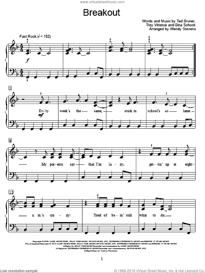 Breakout sheet music for piano solo (elementary) by Miley Cyrus, Wendy Stevens, Miscellaneous, Gina Schock, Ted Bruner and Trey Vittetoe, beginner piano (elementary)