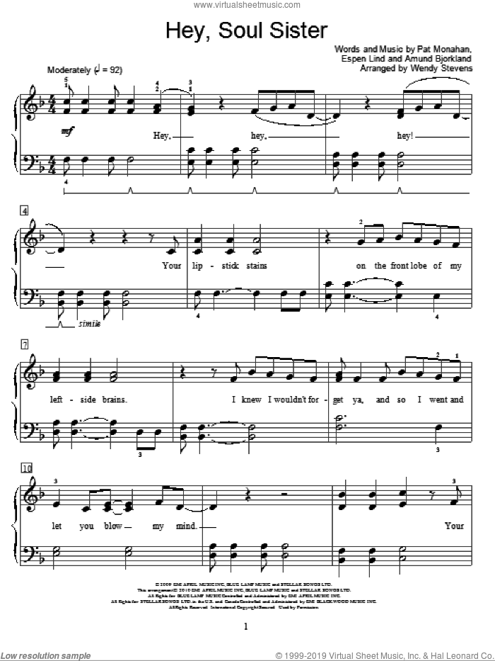Hey, Soul Sister sheet music for piano solo (elementary) by Pat Monahan