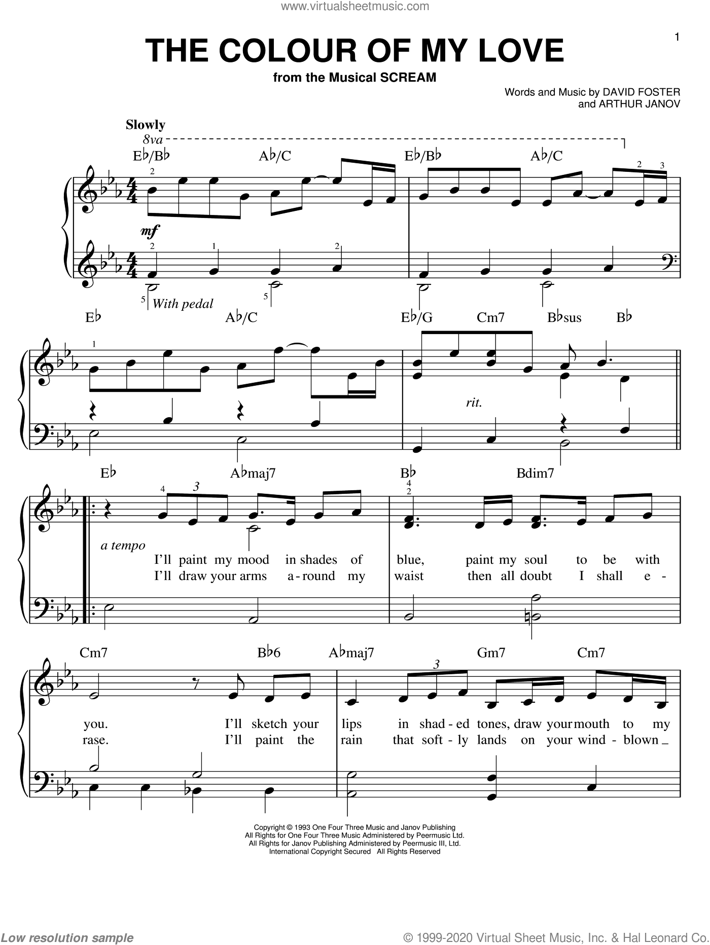 The Colour Of My Love sheet music for piano solo by Celine Dion, Arthur Janov and David Foster, easy skill level