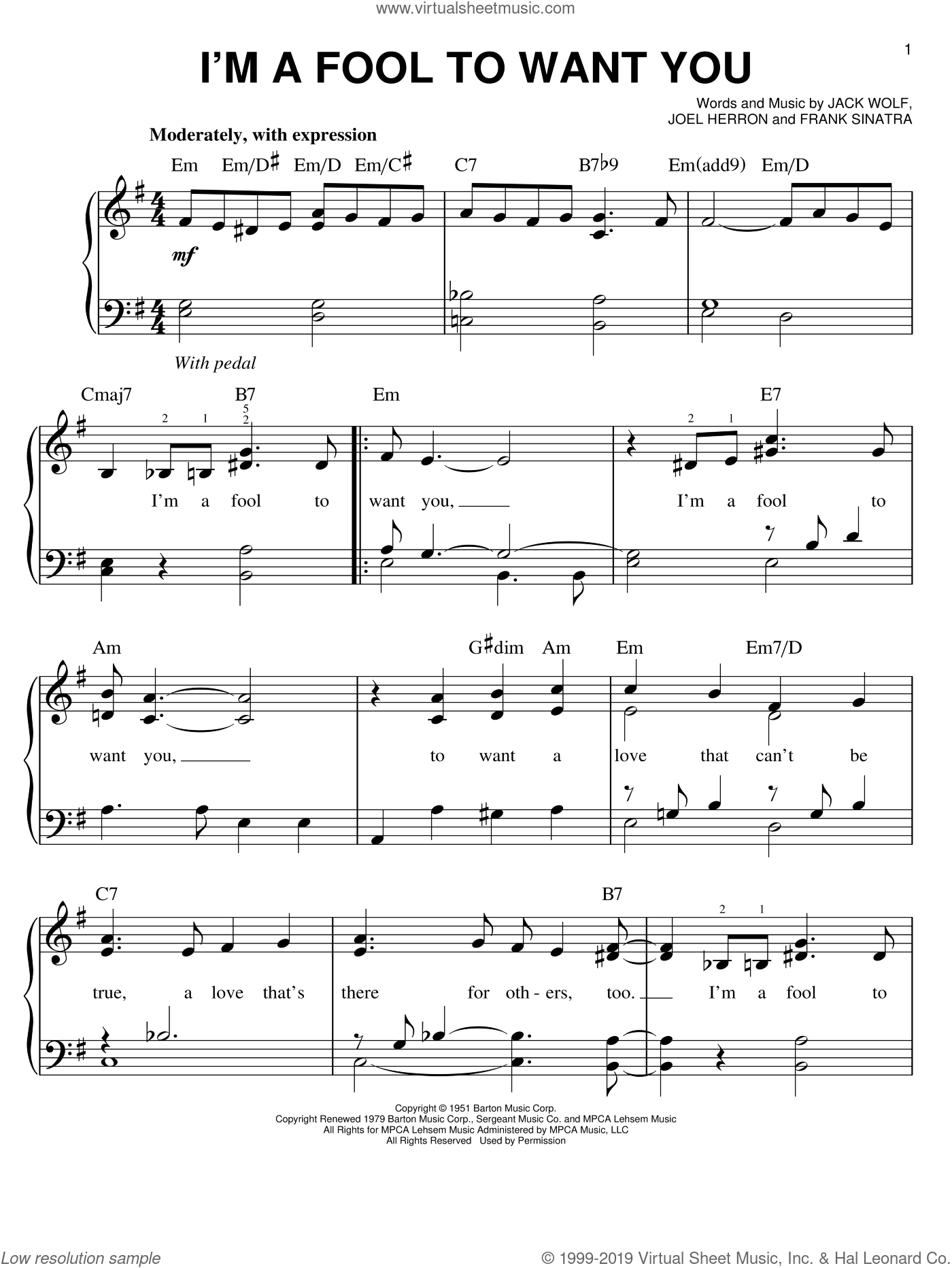 I'm A Fool To Want You sheet music for piano solo by Frank Sinatra, Jack Wolf and Joel Herron, easy skill level