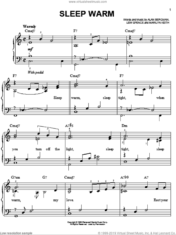 Sleep Warm sheet music for piano solo by Dean Martin, Frank Sinatra, Alan Bergman, Lew Spence and Marilyn Keith, easy skill level