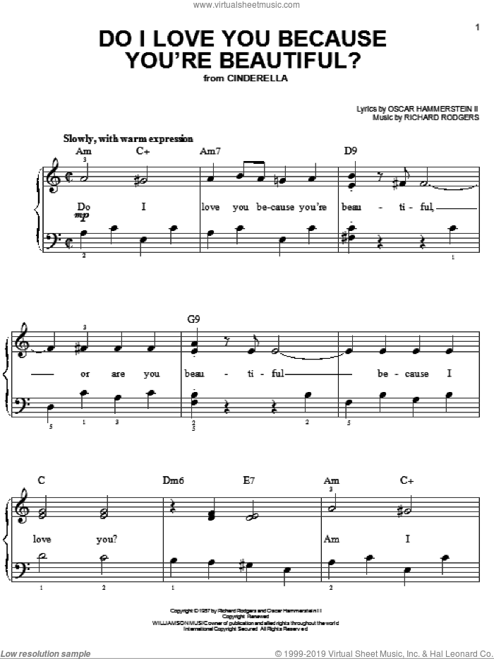 Do I Love You Because You're Beautiful? sheet music for piano solo by Richard Rodgers, Rodgers & Hammerstein and Oscar II Hammerstein. Score Image Preview.