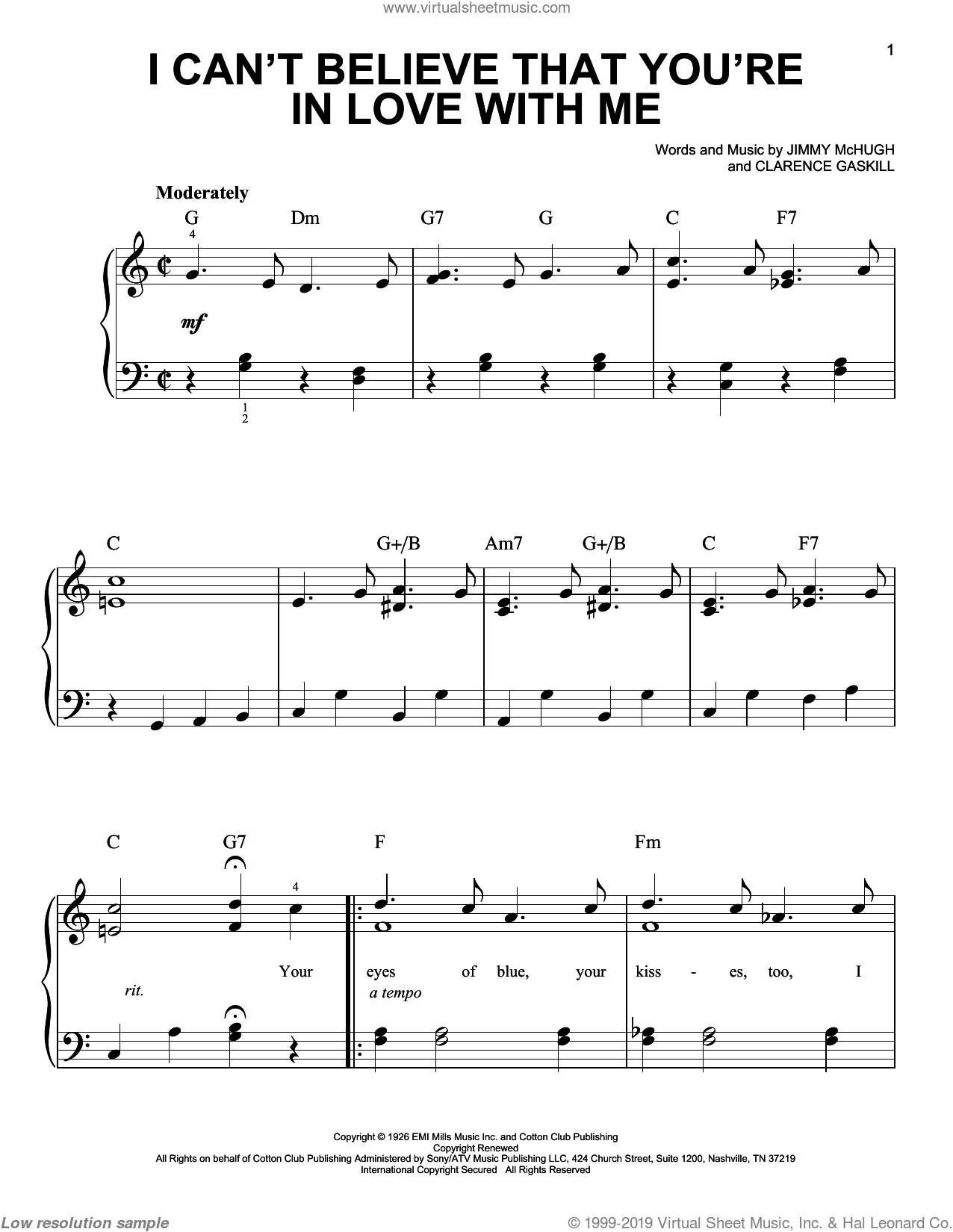 I Can't Believe That You're In Love With Me sheet music for piano solo by Jimmy McHugh and Clarence Gaskill, easy piano. Score Image Preview.
