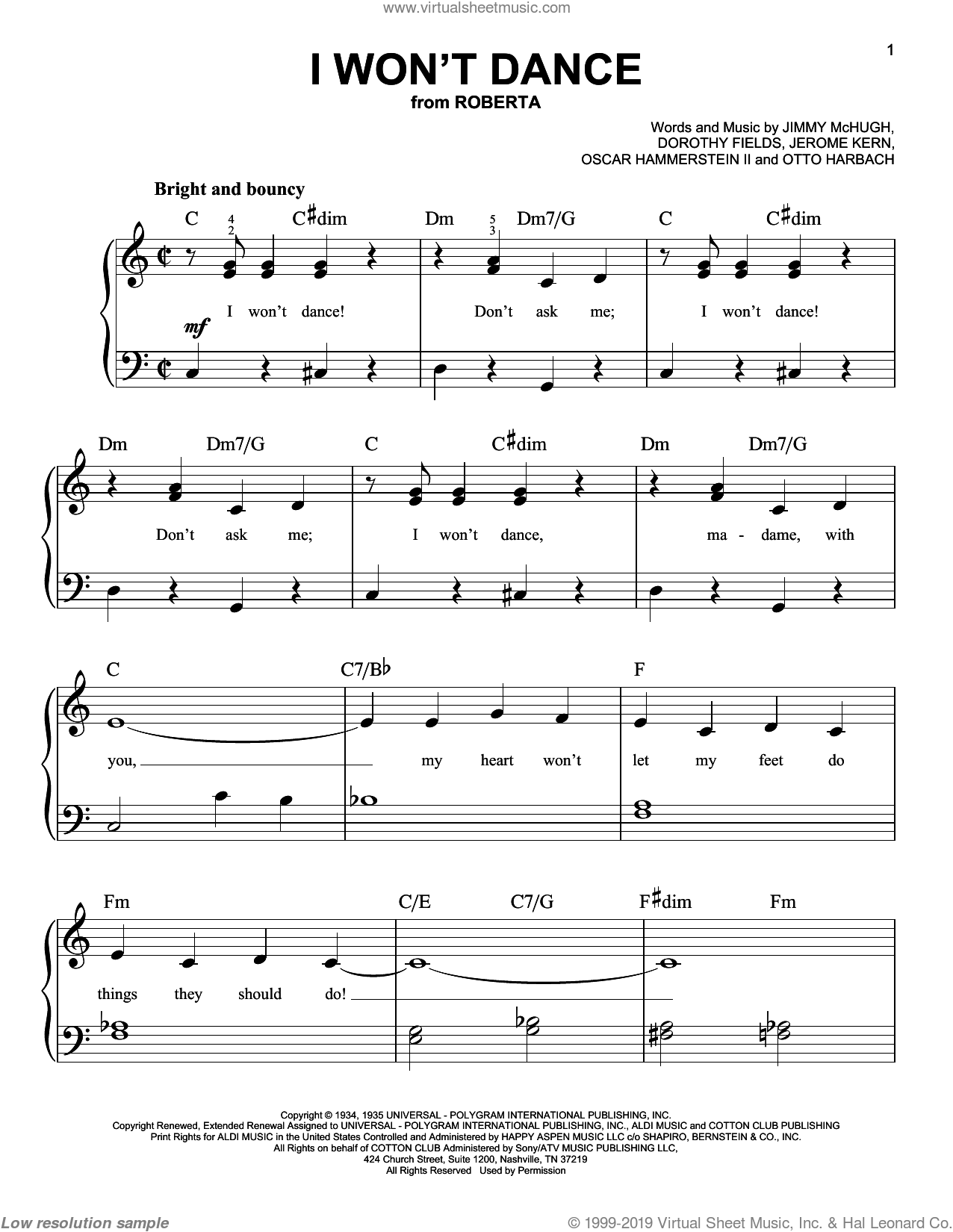 I Won't Dance sheet music for piano solo (chords) by Otto Harbach