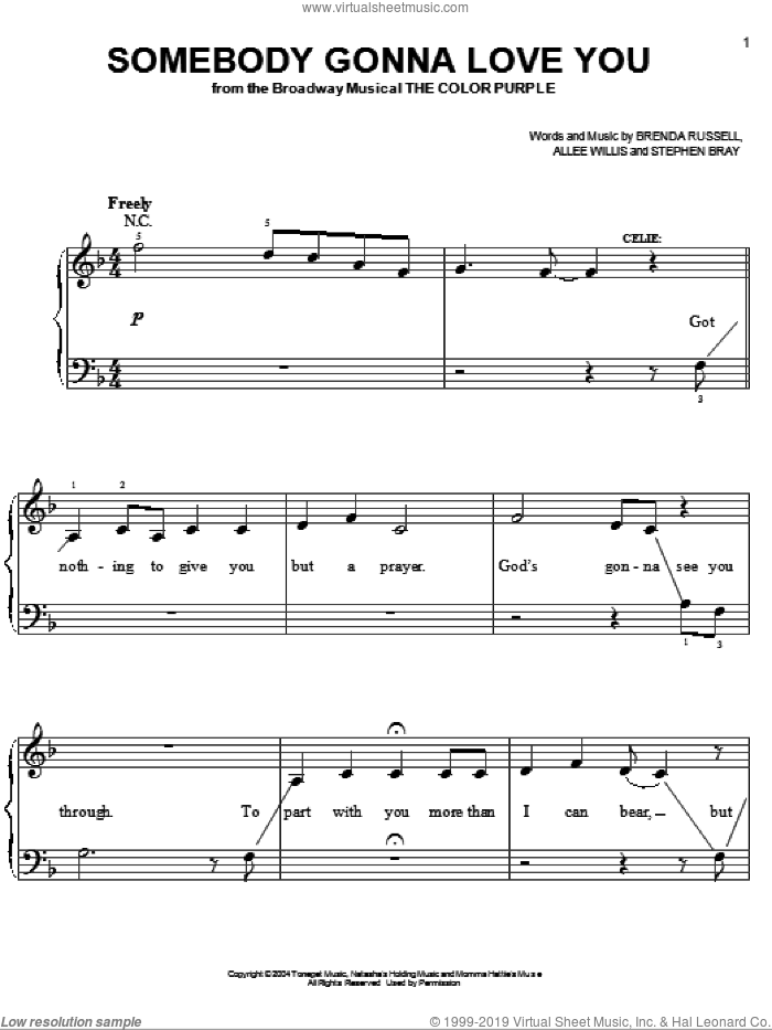 Somebody Gonna Love You sheet music for piano solo by The Color Purple (Musical), Allee Willis, Brenda Russell and Stephen Bray, easy piano. Score Image Preview.