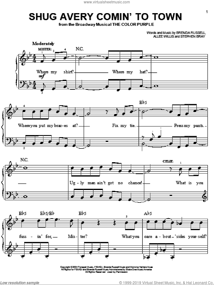 Shug Avery Comin' To Town sheet music for piano solo by The Color Purple (Musical), Allee Willis, Brenda Russell and Stephen Bray, easy skill level