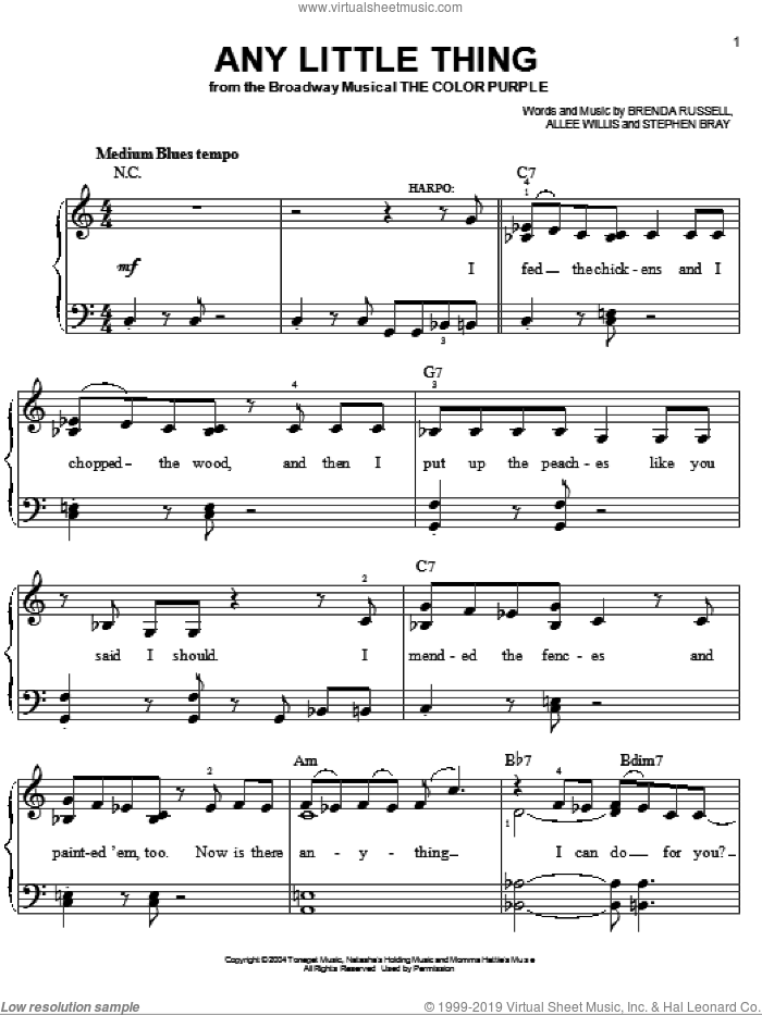 Any Little Thing sheet music for piano solo by Stephen Bray, Allee Willis and Brenda Russell. Score Image Preview.