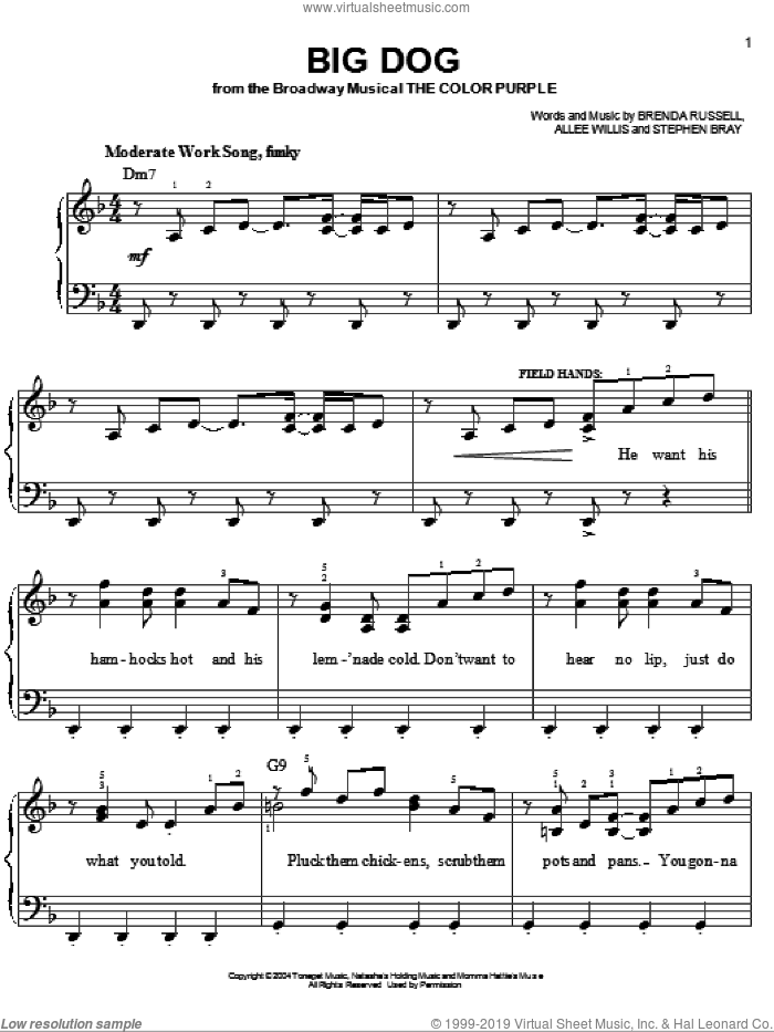 Big Dog sheet music for piano solo by The Color Purple (Musical), Allee Willis, Brenda Russell and Stephen Bray, easy skill level