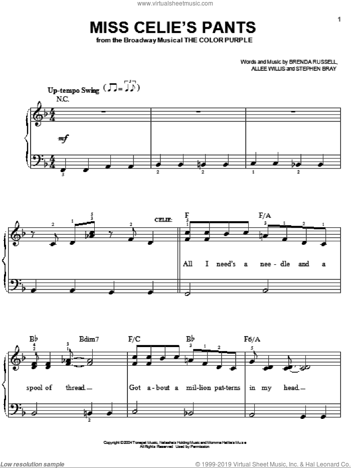 Miss Celie's Pants sheet music for piano solo by The Color Purple (Musical), Allee Willis, Brenda Russell and Stephen Bray, easy skill level