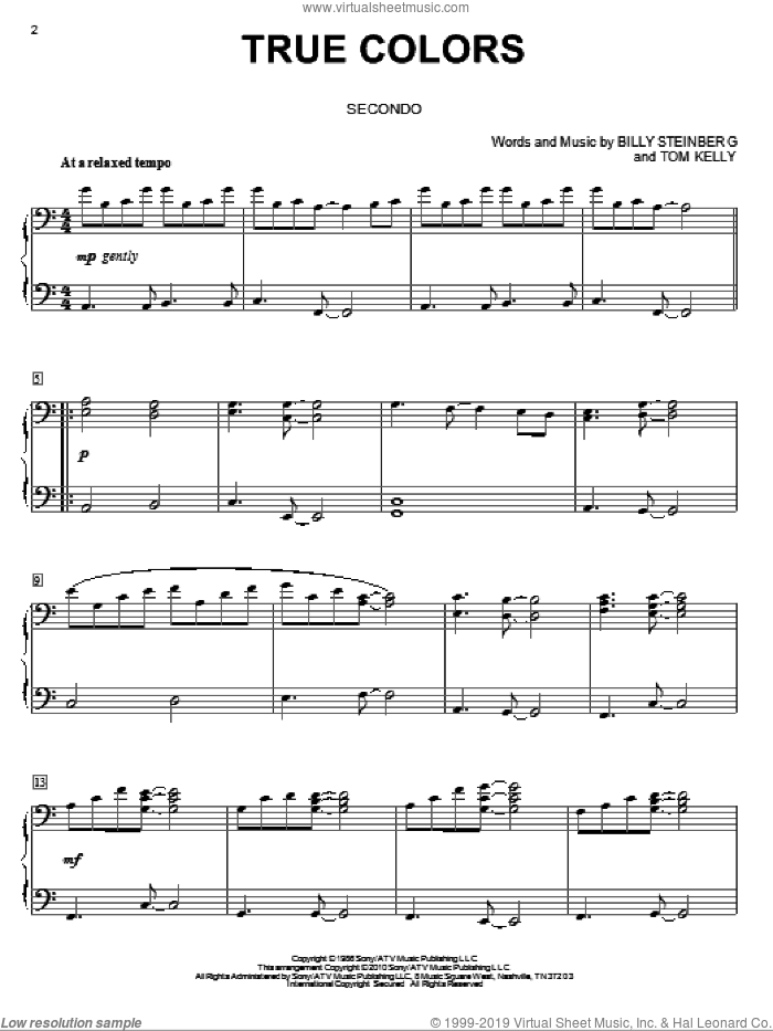 Lauper True Colors Sheet Music For Piano Four Hands Pdf
