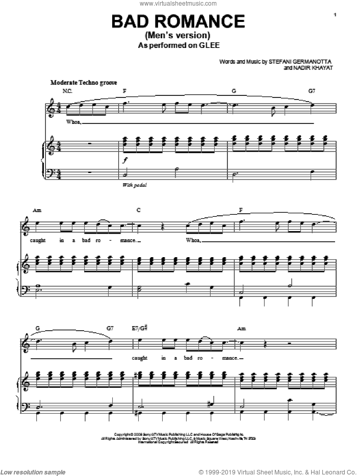 Bad Romance sheet music for voice and piano by Glee Cast, Lady GaGa, Miscellaneous, Lady Gaga and Nadir Khayat, intermediate skill level