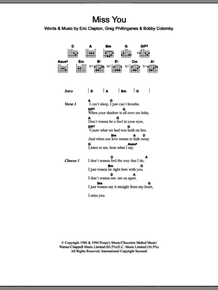 Miss You sheet music for guitar (chords) by Westlife, Eric Clapton, Bobby Colomby and Greg Phillinganes, intermediate