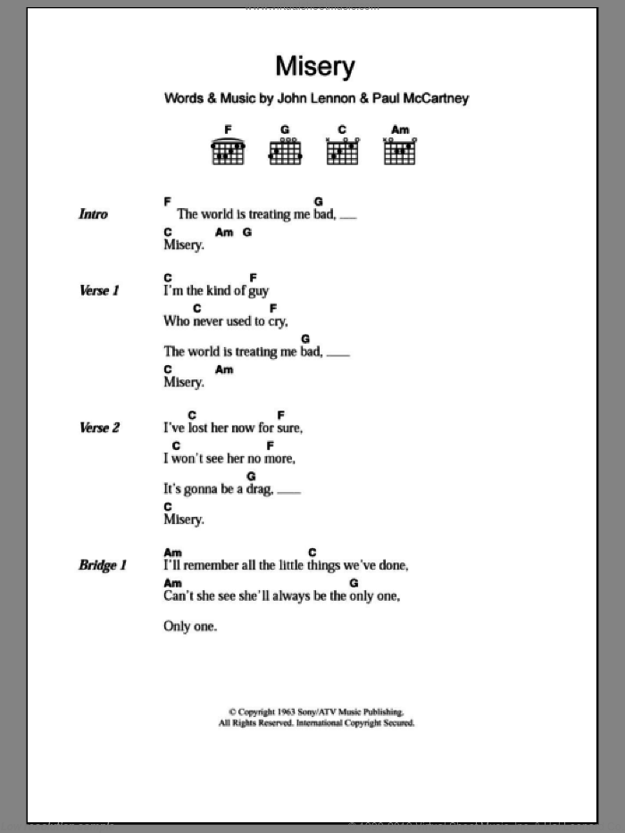Misery sheet music for guitar (chords) by The Beatles, John Lennon and Paul McCartney, intermediate skill level