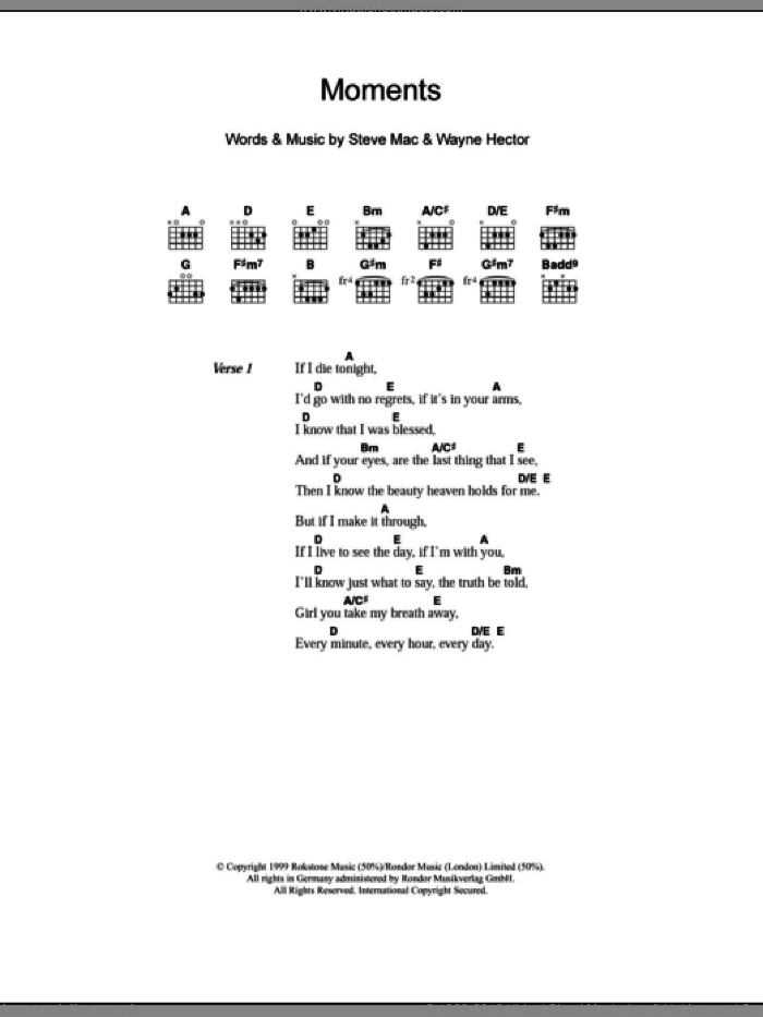 Moments sheet music for guitar (chords) by Wayne Hector, Westlife and Steve Mac. Score Image Preview.