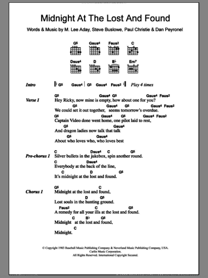 Midnight At The Lost And Found sheet music for guitar (chords) by Steve Buslowe and Paul Christie. Score Image Preview.