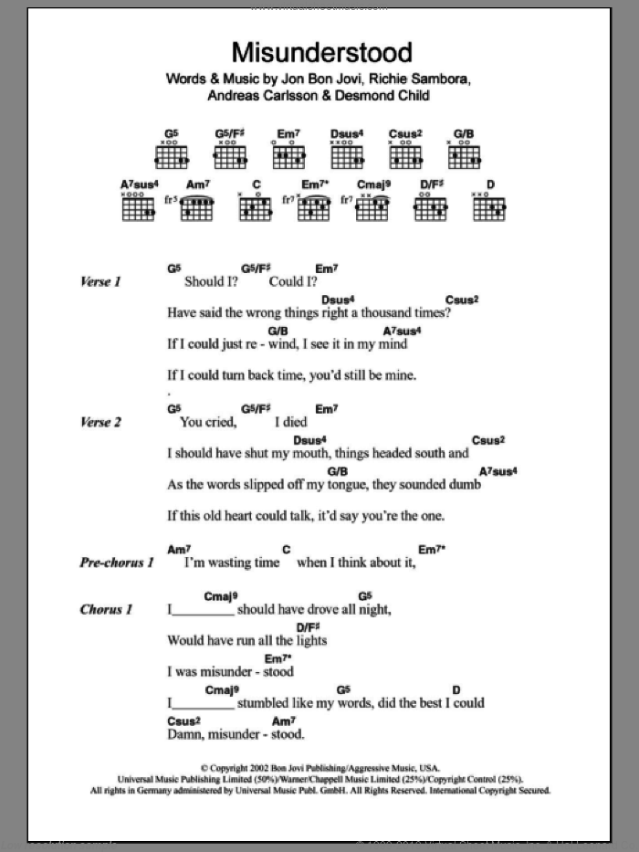 Misunderstood sheet music for guitar (chords, lyrics, melody) by Richie Sambora