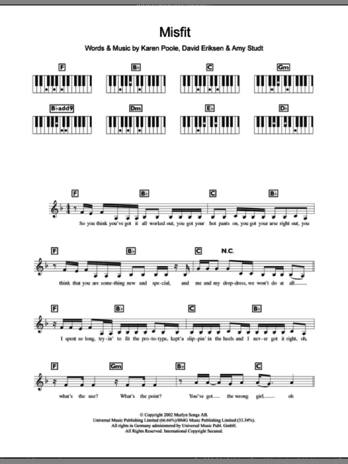 Misfit sheet music for piano solo (chords, lyrics, melody) by Amy Studt, intermediate piano (chords, lyrics, melody)
