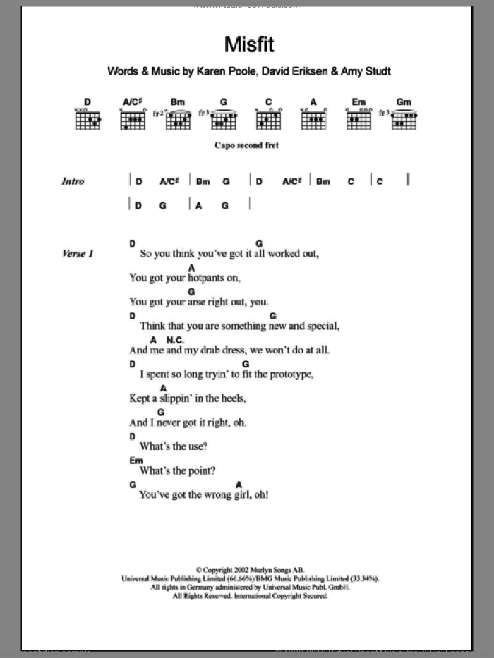 Misfit sheet music for guitar (chords, lyrics, melody) by Karen Poole