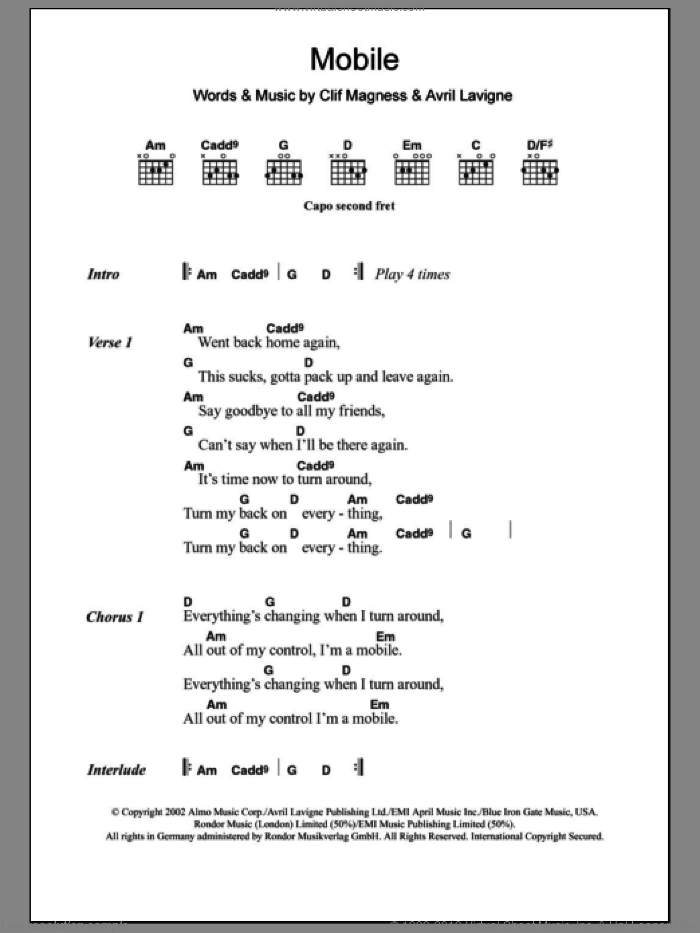 Mobile sheet music for guitar (chords) by Avril Lavigne and Clif Magness, intermediate guitar (chords). Score Image Preview.