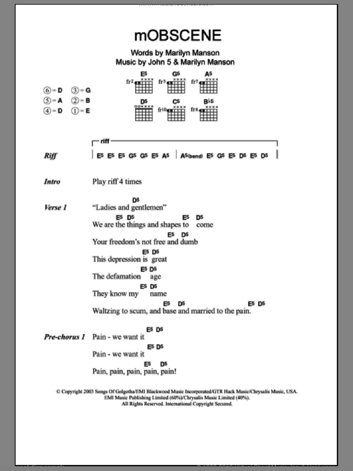 mOBSCENE sheet music for guitar (chords) by John5. Score Image Preview.