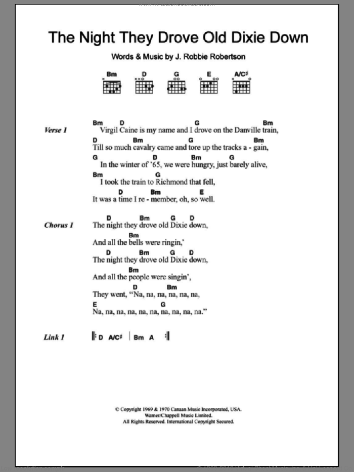 The Night They Drove Old Dixie Down sheet music for guitar (chords) by Robbie Robertson and Joan Baez. Score Image Preview.