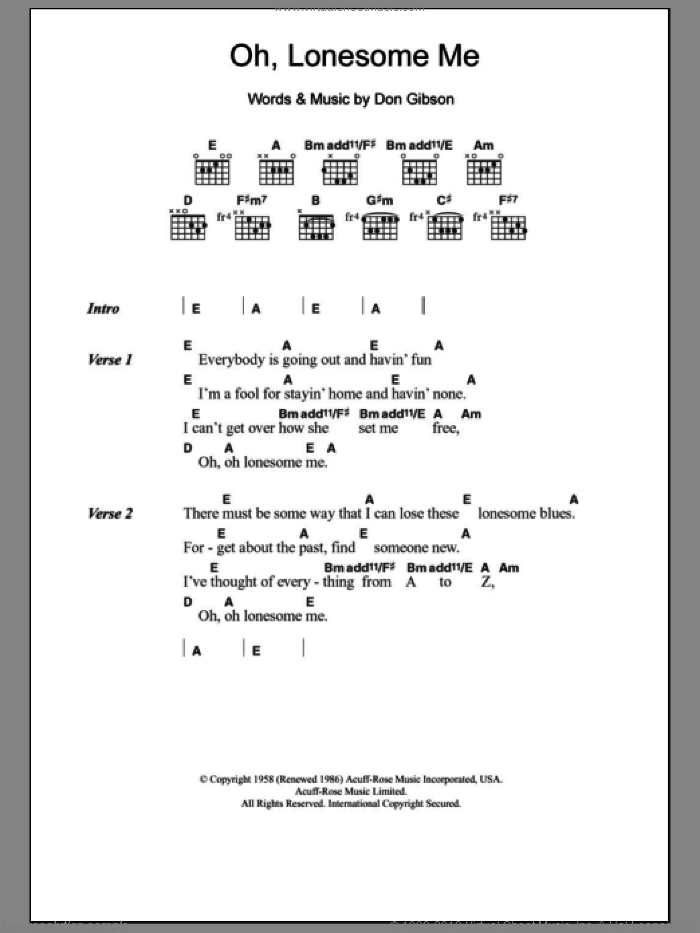 Oh, Lonesome Me sheet music for guitar (chords) by Neil Young and Don Gibson, intermediate. Score Image Preview.