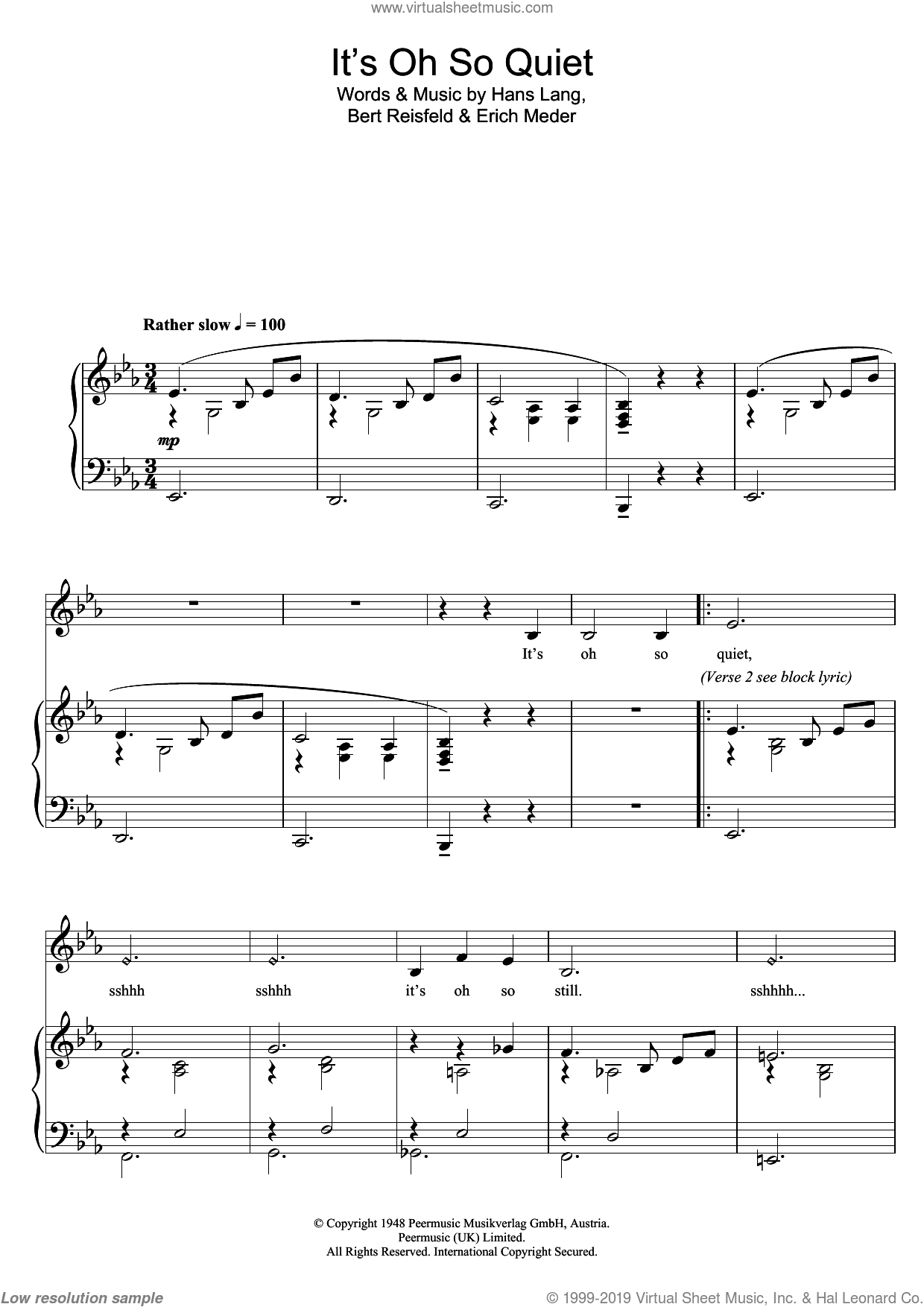 It's Oh So Quiet sheet music for piano solo by Hans Lang, Bjork Gudmundsdottir and Lisa Ekdahl. Score Image Preview.