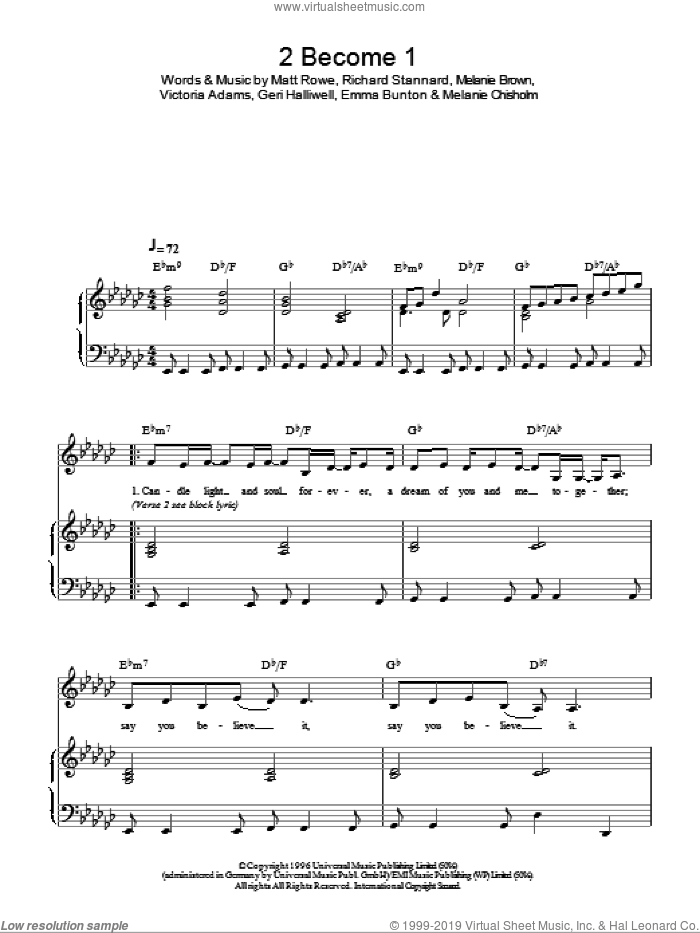2 Become 1 sheet music for piano solo by Victoria Adams