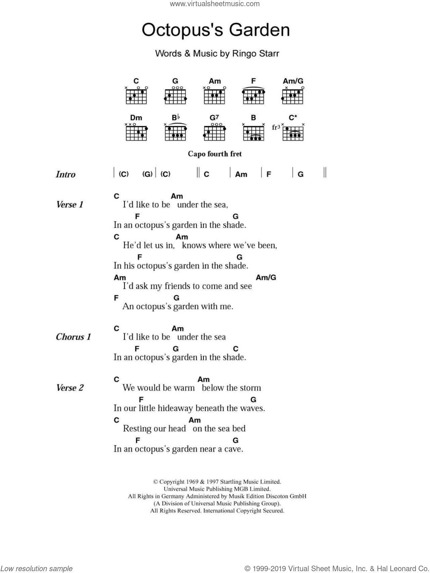 Octopus's Garden sheet music for guitar (chords) by The Beatles and Ringo Starr, intermediate skill level