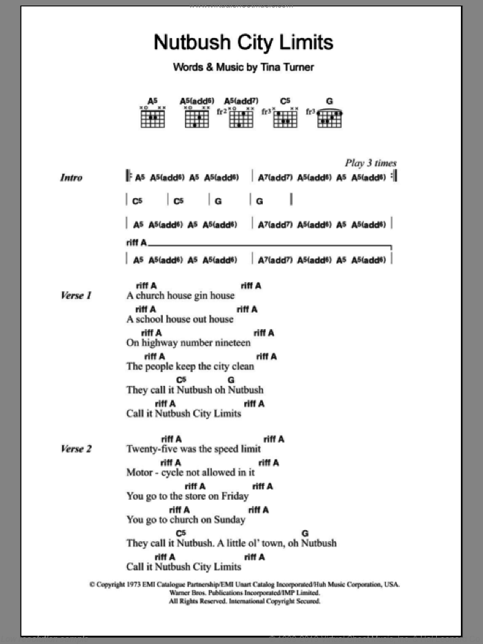 Nutbush City Limits sheet music for guitar (chords) by Tina Turner, intermediate skill level