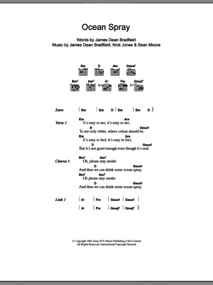 Ocean Spray sheet music for guitar (chords) by Sean Moore, Manic Street Preachers and James Dean Bradfield. Score Image Preview.