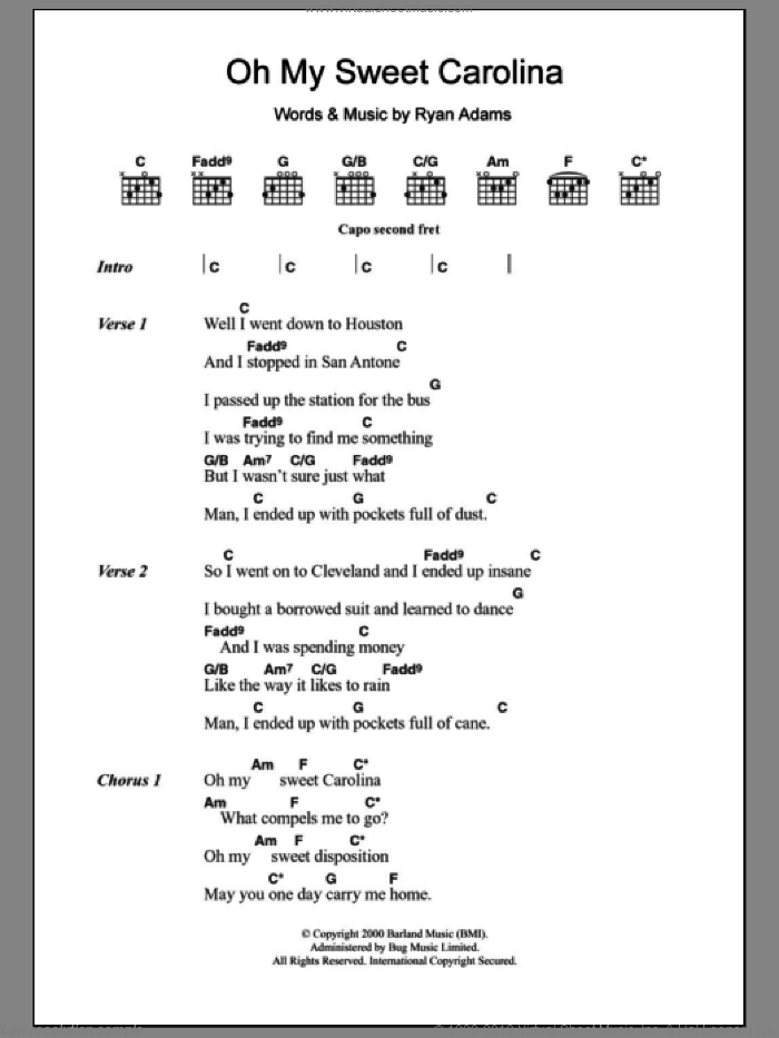 Oh My Sweet Carolina sheet music for guitar (chords) by Ryan Adams, intermediate