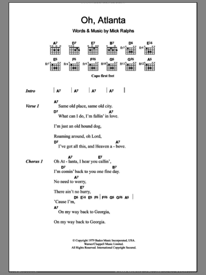 Oh, Atlanta sheet music for guitar (chords, lyrics, melody) by Mick Ralphs
