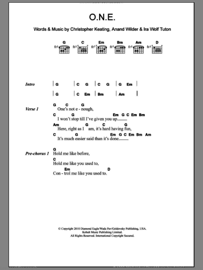 O.N.E. sheet music for guitar (chords) by Yeasayer, Anand Wilder, Christopher Keating and Ira Wolf Tuton, intermediate skill level