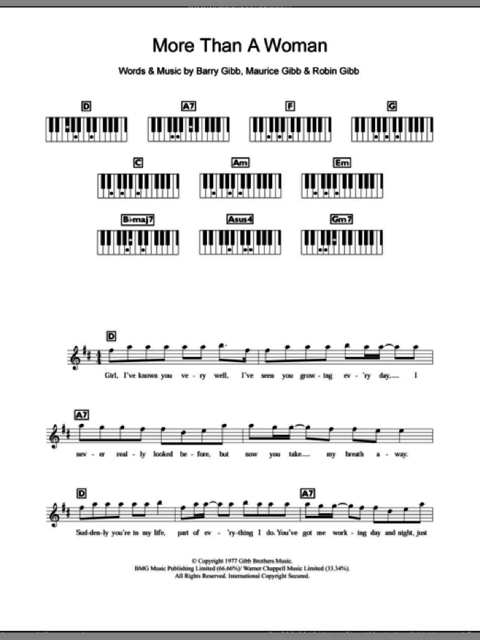 More Than A Woman sheet music for piano solo (chords, lyrics, melody) by Robin Gibb, Bee Gees, Barry Gibb and Maurice Gibb. Score Image Preview.