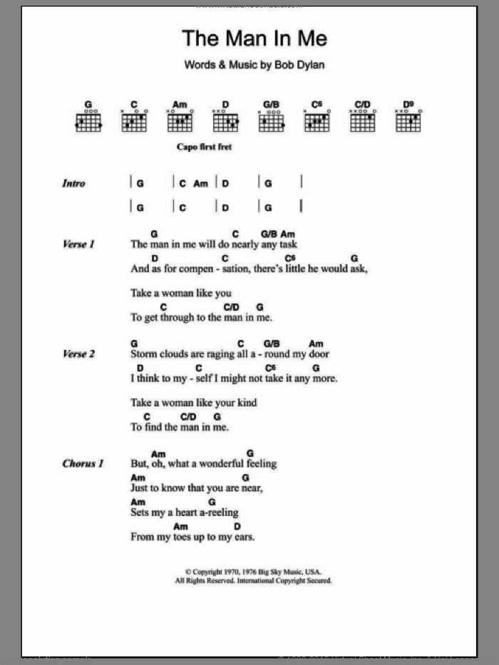 The Man In Me sheet music for guitar (chords) by Bob Dylan. Score Image Preview.