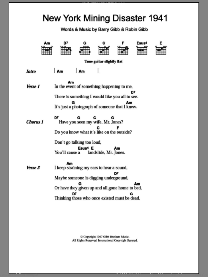 New York Mining Disaster 1941 sheet music for guitar (chords, lyrics, melody) by Robin Gibb
