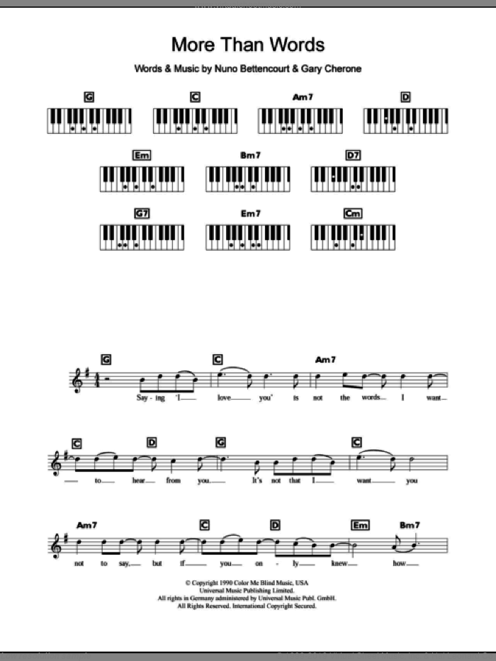 More Than Words sheet music for piano solo (chords, lyrics, melody) by Nuno Bettencourt, Extreme, Westlife and Gary Cherone. Score Image Preview.