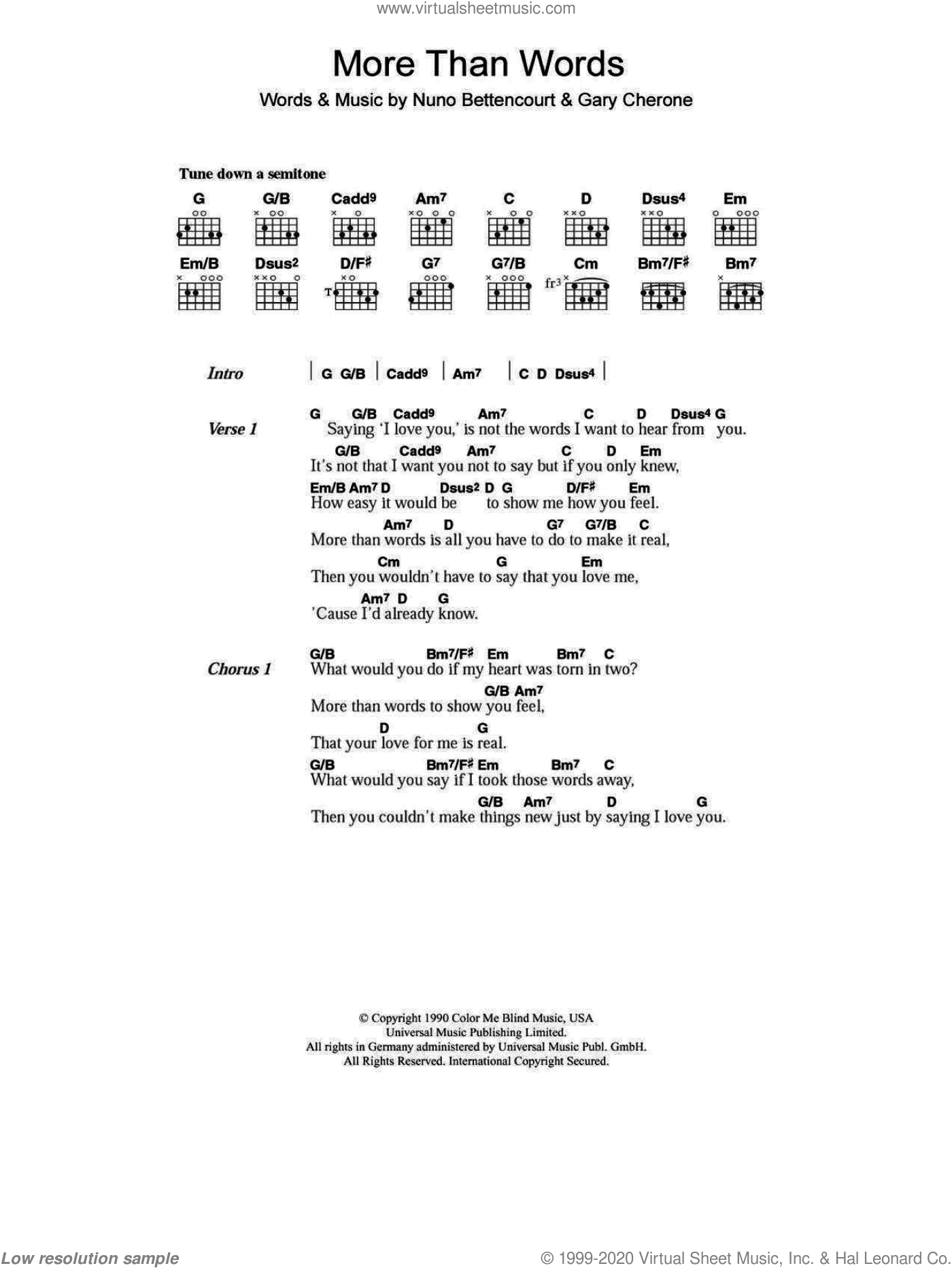 More Than Words sheet music for guitar (chords) by Nuno Bettencourt