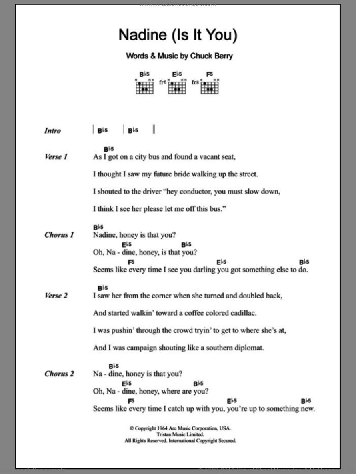 Nadine (Is It You) sheet music for guitar (chords) by Chuck Berry