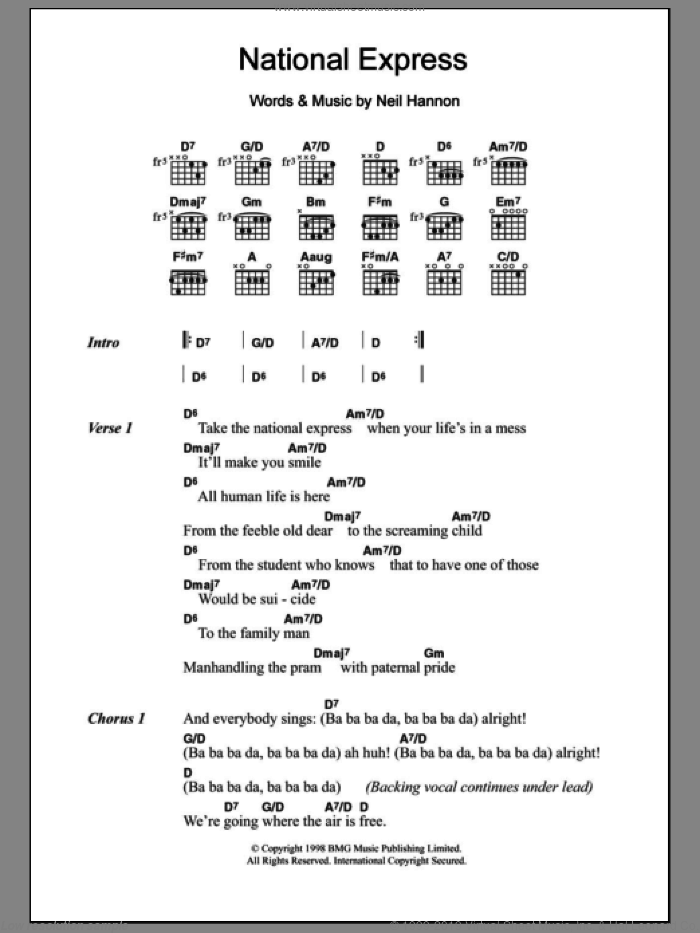 National Express sheet music for guitar (chords) by Neil Hannon