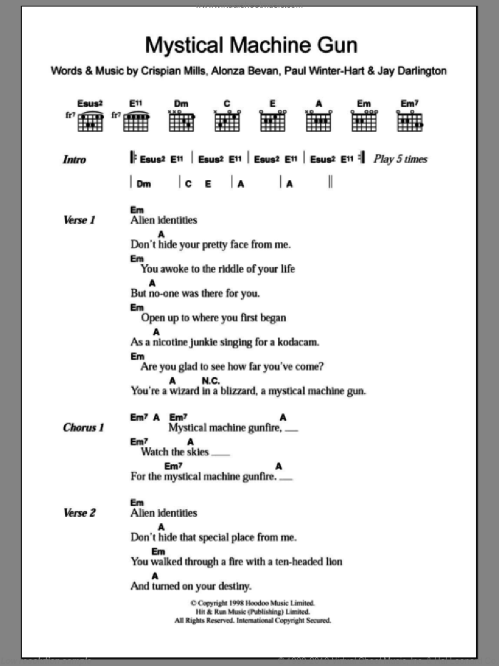 Mystical Machine Gun sheet music for guitar (chords) by Paul Winter-Hart, Kula Shaker, Sting, Alonza Bevan and Crispian Mills. Score Image Preview.
