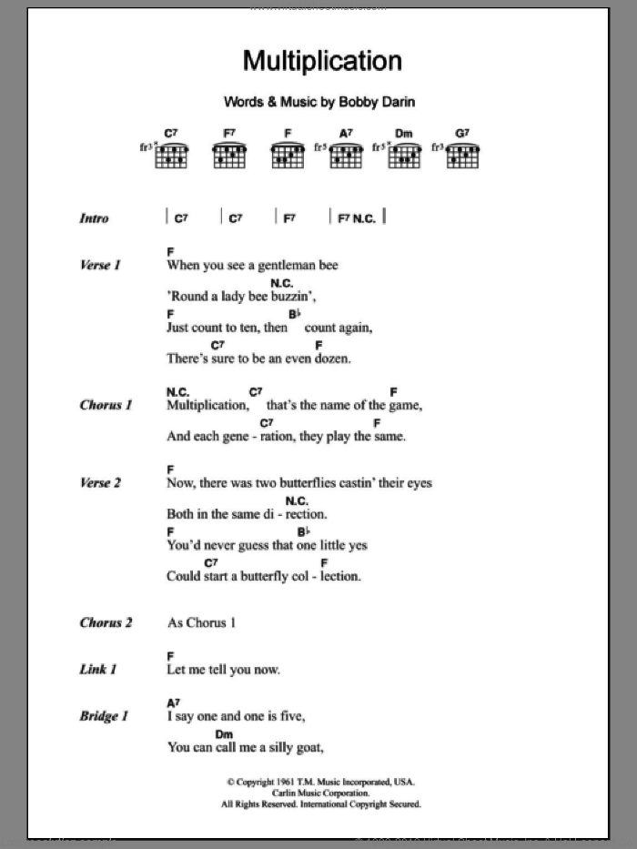 Multiplication sheet music for guitar (chords) by Bobby Darin, intermediate skill level