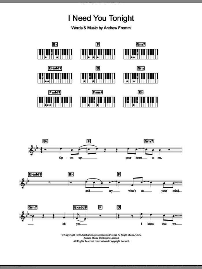 I Need You Tonight sheet music for piano solo (chords, lyrics, melody) by Andrew Fromm and Backstreet Boys. Score Image Preview.