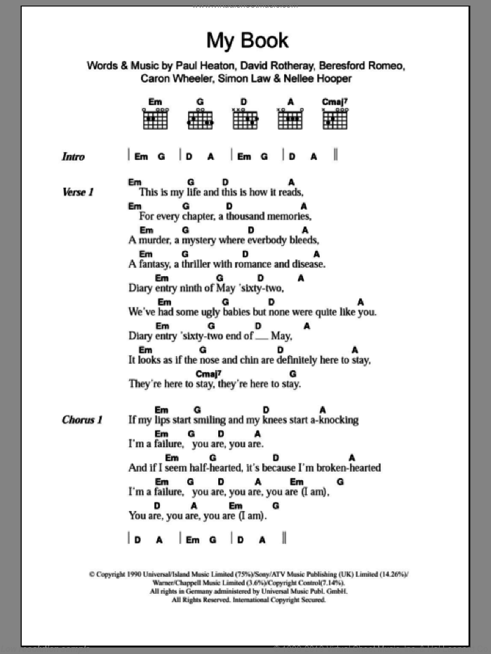 My Book sheet music for guitar (chords) by The Beautiful South and Nellee Hooper. Score Image Preview.