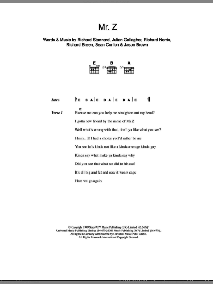 Mr. Z sheet music for guitar (chords) by Ben Folds Five, Jason Brown, Julian Gallagher, Richard Breen, Richard Norris, Richard Stannard and Sean Conlon, intermediate skill level