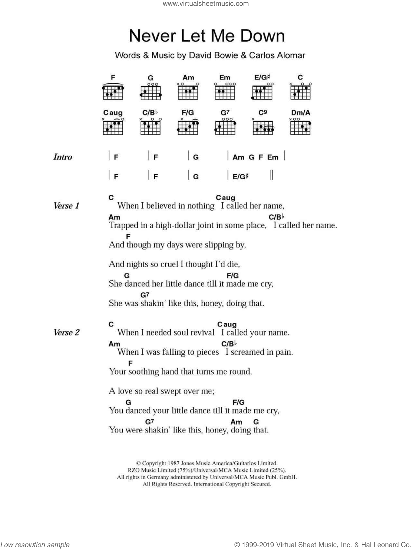 Bowie - Never Let Me Down sheet music for guitar (chords) [PDF]