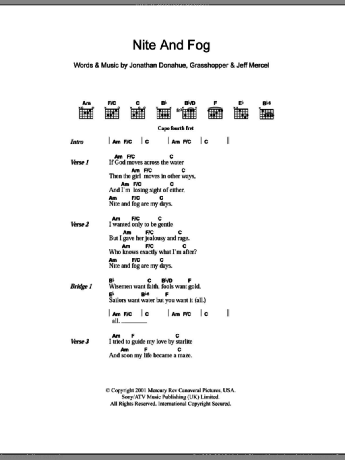 Nite And Fog sheet music for guitar (chords) by Jonathan Donahue