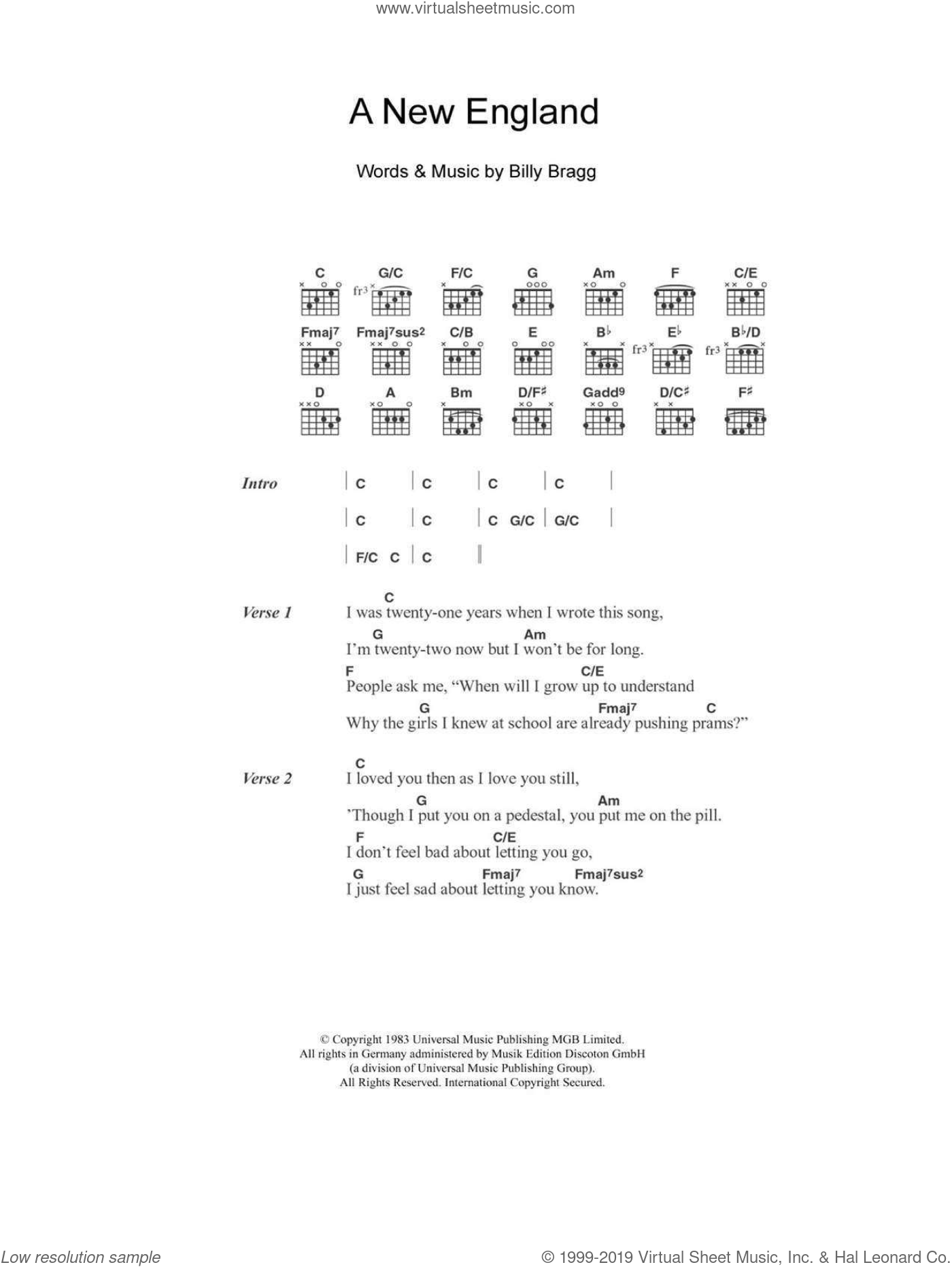 A New England sheet music for guitar (chords) by Billy Bragg and Kirsty MacColl, intermediate. Score Image Preview.